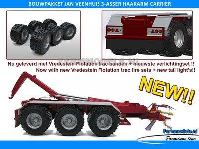 LAST ONE: Jan Veenhuis 3-asser haakarm Carrier + 3x Vredestein Flotation trac bandensets Bouwpakket Basis asafstand 180 + geleverd met nieuwe verlichting LAST ONE