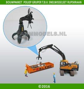 68044 Poliepgrijper bouwkit voor snelwisselset 68000-68025 1:32 bijvoorbeeld New Holland en Hitachi rupskraan van ROS