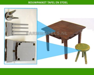 86130 Tafel en ronde stoel bouwkit (EL048)
