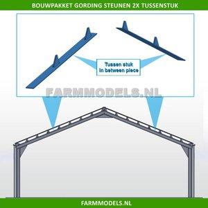 88672 Gording (verdeel) steunen, 2x Tussenstuk t.b.v. (bewaar-) loods / stal, bouwkit 1:32
