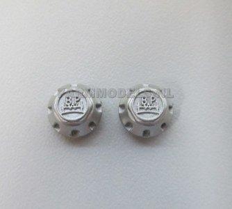 29023 Alu. Grijs Eindkapjes BPW opdruk Ø 9 mm (voor Joskin ROS en aluminium velgen) 1:32