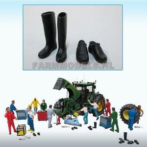 81002 1 Paar werkschoenen + 1 paar (werk) laarzen, zwart rubber 1:32, Probeer stunt prijs
