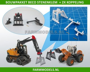 BECO Stenenklem bouwkit, geschikt voor snelwisselset Rupskraan 68000-68025 + shovel 55001-55050 ROS NH/ Hitachi/ etc. 1:32 LAST ONES