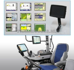 Display met steun, zwart kunststof, t.b.v. GPS / Autopilot / Trimble etc. 1:32