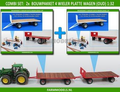 """28271** 2x Bouwkit platte wagen 2- asser """"Oud"""" = 2x nr 28270 + dubbellucht banden + houten bodemlatten + detail verlichting 1:32"""