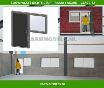 88455 1x Dichte Deur + Raam + Kozijn + Glas - Kozijn = 70 x 67.8 mm - Kunststof wit - t.b.v. (bewaar-) loods / stal / kantoor / huis, 1:32