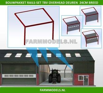 88490 1x RAILSET 24 cm breed t.b.v. (Overhead) Deuren- Kunststof wit - BOUWKIT t.b.v. (bewaar-) loods / stal / kantoor / huis, 1:32