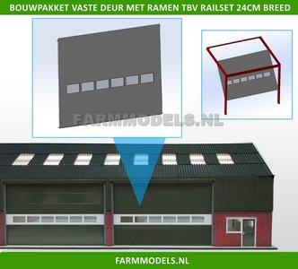 88492 1x Vaste Deur Plaat + 6 Ramen t.b.v. railset 24 cm breed -BOUWKIT- Kunststof wit t.b.v. (bewaar-) loods / stal / kantoor / huis, 1:32