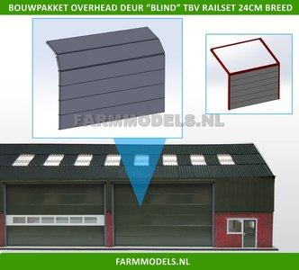 88496 1x Overhead Deur ZONDER Ramen = 6 platen + 10 scharnieren t.b.v. railset 24 cm breed -BOUWKIT- Kunststof wit t.b.v. (bewaar-) loods / stal / kantoor / huis, 1:32