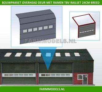 88497 1x Overhead Deur + 6 Ramen = 6 platen + 10 scharnieren + Ramen t.b.v. railset 24 cm breed -BOUWKIT- Kunststof wit t.b.v. (bewaar-) loods / stal / kantoor / huis, 1:32