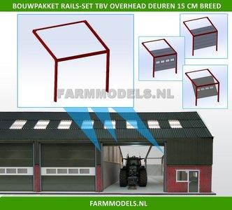 88471 1x RAILSET 15 cm breed t.b.v. (Overhead) Deuren- Kunststof wit - BOUWKIT t.b.v. (bewaar-) loods / stal / kantoor / huis, 1:32