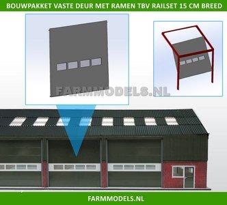 88473 1x Vaste Deur Plaat + 4 Ramen t.b.v. railset 15 cm breed -BOUWKIT- Kunststof wit t.b.v. (bewaar-) loods / stal / kantoor / huis, 1:32