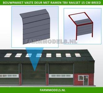 88474 1x Overhead Deur ZONDER Ramen = 6 platen + 10 scharnieren t.b.v. railset 15 cm breed -BOUWKIT- Kunststof wit t.b.v. (bewaar-) loods / stal / kantoor / huis, 1:32