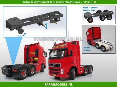 Universeel Vrachtwagen Chassis 6x4 met lift as, BOUWKIT Basis 1:32