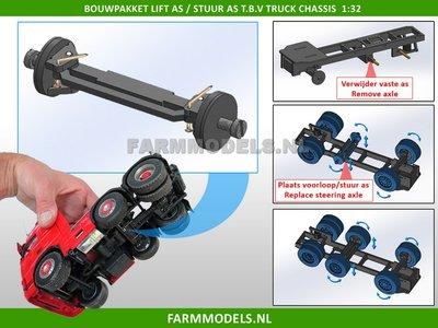 28102 Sleep-/stuur-/lift as t.b.v. universeel Vrachtwagen Chassis Farmmodels Bouwpakket Basis 1:32