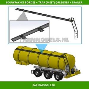 28168 Bordes + Trap achterkant t.b.v. mest oplegger / mesttank Bouwkit, geschikt voor o.a. Mestoplegger, trailer & Mesttank 1:32