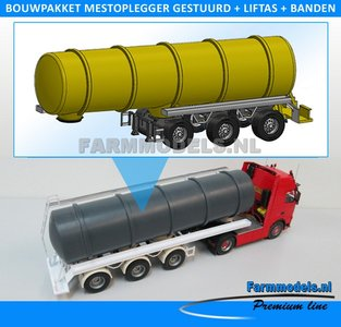 28161 Mestoplegger + SuperSingle Banden (VMA / D-Tec) 3 asser mest trailer (slurrytanker) Bouwpakket Basis 1:32