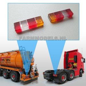 22084 2x RECHTHOEK Truck / Trailer Achterlicht Rood/Oranje/Wit ong. 16 x 5 mm, Transparant gekleurde Verlichting, net echt!!! 1:32