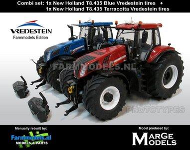 54452** COMBISET: NH T8.435 Terracotta Vredestein + NH T8.435 Blue Vredestein - manually rebuilt, 1:32