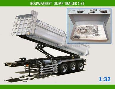 28195 Kipper Trailer Bouwpakket, incl. 12x (dubbellucht) banden + velgen + eind doppen 1:32