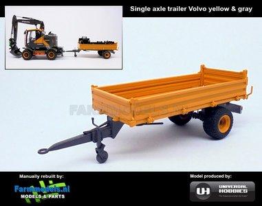 Rebuilt: Enkel asser Bakkenwagen geel en grijs geschikt voor div. mobiele kranen & shovels 1:32