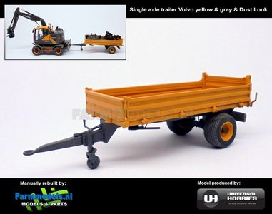 Rebuilt & Dirty: Enkelasser Bakkenwagen + STOFLOOK geel en grijs geschikt voor div. mobiele kranen & shovels 1:32