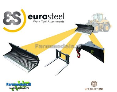 3x EuroSteel: Puinriek, Palletvork & Hijsjip set geschikt voor snelwissel Volvo L60H/ L70H & L90H Shovel 1:32  AT3200121