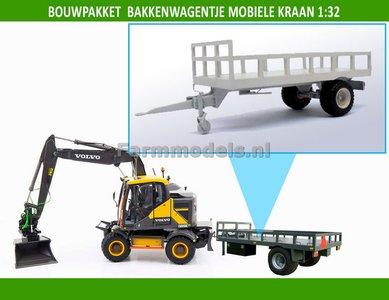 Bouwkit bakkenwagentje enkelasser geschikt voor div. mobiele kranen & shovels 1:32