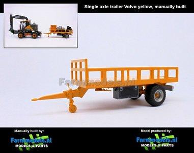 Rebuilt: Bakkenwagen GEEL enkelasser geschikt voor div. mobiele kranen & shovels 1:32