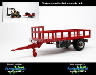 Rebuilt: Bakkenwagen ROOD enkelasser geschikt voor div. mobiele kranen & shovels 1:32