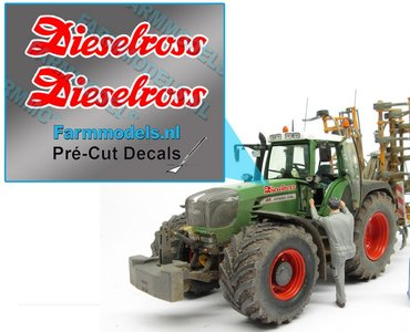 2x Dieselross sticker ROOD met WITTE rand op Transparant 22.5 mm breed Pré-Cut Decals 1:32 Farmmodels.nl