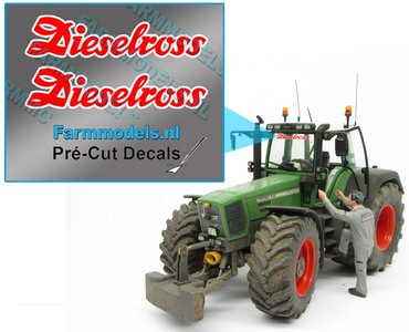 2x Dieselross sticker ROOD met WITTE rand op Transparant 30 mm breed Pré-Cut Decals 1:32 Farmmodels.nl