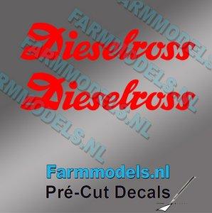 2x Dieselross sticker ROOD op Transparant 25 mm breed Pré-Cut Decals 1:32 Farmmodels.nl