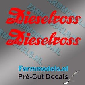 2x Dieselross sticker ROOD op Transparant 27.5 mm breed Pré-Cut Decals 1:32 Farmmodels.nl