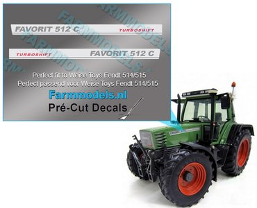 2x FENDT FAVORIT 512C TURBOSHIFT type stickers Pré-Cut Decals 1:32 Farmmodels.nl