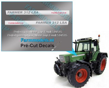 2x FARMER 312 LSA TURBOMATIC type stickers (voor Fendt 514/515 Weise) Pré-Cut Decals 1:32 Farmmodels.nl