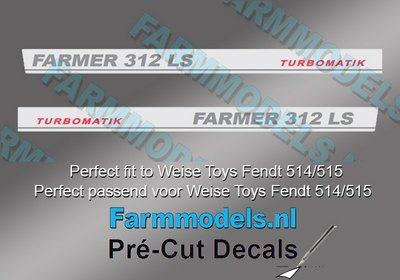 FARMER 312 LS TURBOMATIC type stickers (voor Fendt 514/515 Weise) Pré-Cut Decals 1:32 Farmmodels.nl