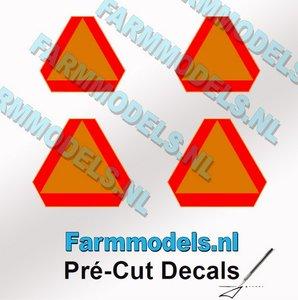 Gevarendriehoek stickers GEEL/ ORANJE met RODE randen Pré-Cut Decals 1:32 Farmmodels.nl