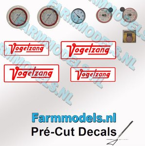 4x Vogelsang + 7x Drukmeter schakelaar stickers Pré-Cut Decals 1:32 Farmmodels.nl