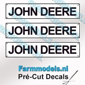 JOHN DEERE  3x WITTE Kentekenplaatsticker ZWARTE LETTERS Pré-Cut Decals 1:32 Farmmodels.nl