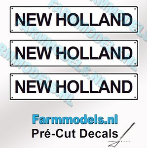 NEW HOLLAND  3x WITTE Kentekenplaatsticker ZWARTE LETTERS Pré-Cut Decals 1:32 Farmmodels.nl