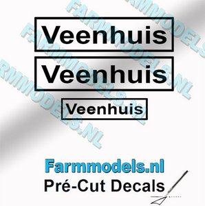 3x Veenhuis Zwart op Transparant 5.2mm & 3.3mm hoog Pré-Cut Decals 1:32 Farmmodels.nl