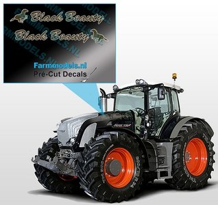 "2x ""Black Beauty"" sticker Bruin/ Goud op Transparant 4 x 28 mm Pré-Cut Decals 1:32 Farmmodels.nl"