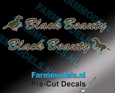 "2x ""Black Beauty"" sticker Bruin/ Goud op Transparant 5 x 35 mm Pré-Cut Decals 1:32 Farmmodels.nl"