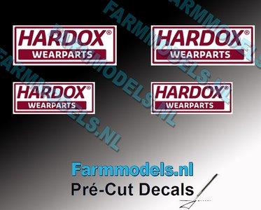 4x HARDOX Wearparts (Hard Slijtvast Staal) stickers Pré-Cut Decals 1:32 Farmmodels.nl