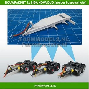28146 Siga Nova Duo, tandem as Dolly t.b.v. trailers en mesttanks Bouwpakket Basis 1:32