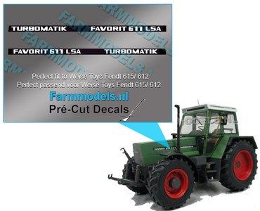 2x FAVORIT 611 LSA TURBOMATIC type stickers Pré-Cut Decals 1:32 Farmmodels.nl