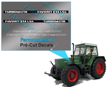 2x FAVORIT 614 LSA TURBOMATIC type stickers Pré-Cut Decals 1:32 Farmmodels.nl