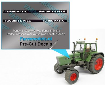 2x FAVORIT 614 LS TURBOMATIC type stickers Pré-Cut Decals 1:32 Farmmodels.nl