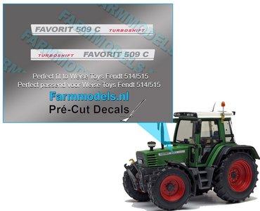 2x FENDT FAVORIT 509C TURBOSHIFT type stickers Pré-Cut Decals 1:32 Farmmodels.nl